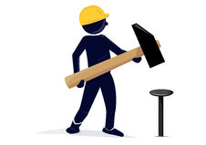 Carpenter. An illustration of a carpenter with an safety hat and an hammer Royalty Free Stock Images