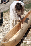Carpenter. Making boat Stock Image
