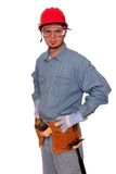 Carpenter. Young carpenter using a tape measure Stock Images