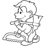 Carpenter. Black and White Cartoon illustration, Vector royalty free illustration