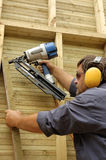 Carpenter. Construction worker, carpenter in time of work Royalty Free Stock Images