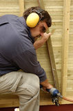 Carpenter. Construction worker, carpenter in time of work Royalty Free Stock Photos