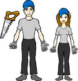Carpenter. Vector illustration of male and female carpenters Royalty Free Stock Photo