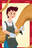 Carpenter. A vector illustration of a working carpenter stock illustration