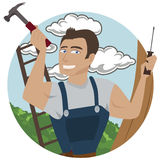 Carpenter. Image of a carpenter heading for work, no use of transparency or gradients Royalty Free Stock Photography