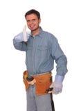 Carpenter 3. Young carpenter giving thumbs up Royalty Free Stock Photos