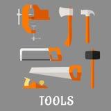 Carpenter And DIY Tool Flat Icons Royalty Free Stock Photo