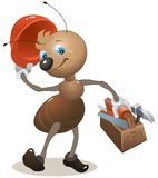 Carpenter ant in the helmet bears toolbox Royalty Free Stock Photo