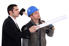 Carpenter and architect Royalty Free Stock Image