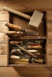 Carpenter artist wooden craftman toolbox. Over wood background stock photos