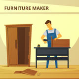 Carpenter Assembling Furniture Flat Poster. With young professional at work hand hammering cupboard abstract vector illustration royalty free illustration