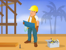 Carpenter with blueprint Royalty Free Stock Photos