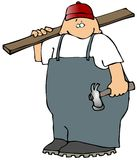 Carpenter With A Board And Hammer vector illustration