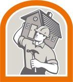 Carpenter Builder Carrying House Retro Royalty Free Stock Photos