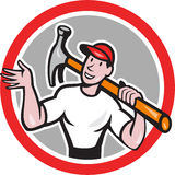 Carpenter Builder Hammer Circle Cartoon Royalty Free Stock Images