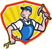 Carpenter Builder Hammer Spanner Cartoon Royalty Free Stock Photo