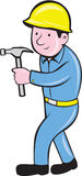 Carpenter Builder Hammer Walking Cartoon. Illustration of a carpenter builder construction worker walking with hammer looking to side on isolated white Royalty Free Stock Photo