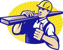 Carpenter Builder Worker Thumbs Up. Illustration of a carpenter lumberyard worker carrying plank of wood timber with thumbs up done in retro style Royalty Free Stock Photos