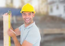 Carpenter on building site Stock Photos