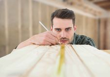 Carpenter on building site Royalty Free Stock Photography