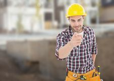 Carpenter on building site Royalty Free Stock Images