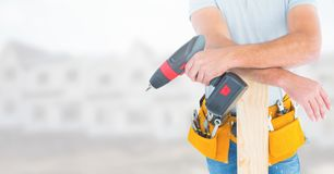 Carpenter on building site Royalty Free Stock Photos