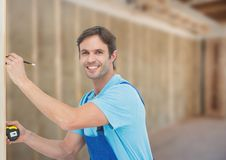 Carpenter on building site Stock Photography
