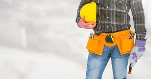 Carpenter on building site Stock Images