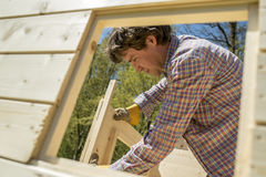Carpenter building a wooden outdoor hut. Carpenter or DIY homeowner building a wooden hut outdoors in the garden fitting the window and door frames viewed Stock Images