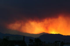 Carpenter Canyon & Mt. Charleston fire. After 2 weeks of fire the merged with a back fire and this how it look at 7 PM in July Royalty Free Stock Photos