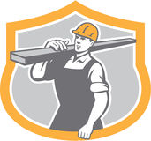 Carpenter Carry Lumber Shield Retro. Illustration of a carpenter builder carry carrying lumber on shoulder set inside shield crest shape on isolated background Royalty Free Stock Photography