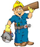 The Carpenter. Cartoon Illustration of a Carpenter Ready For Work vector illustration