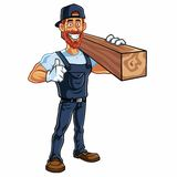 Carpenter Cartoon Mascot Vector. Clipart Stock Image
