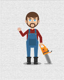 A carpenter. With a chainsaw in the left hand. suitable for character design and wallpaper. available in JPG file, and high resolution stock illustration