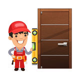 Carpenter Checks the New Door. Isolated on white background royalty free illustration