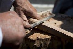 Carpenter. Close up of a carpenter Stock Photos