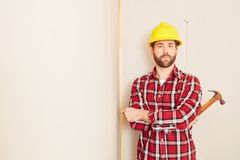 Carpenter profession ad. Carpenter with competence as profession add Stock Photos