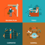 Carpenter concept 4 flat icons square Stock Images