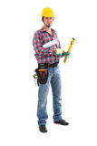Carpenter Contractor Man. Wearing Toolbelt Hardhat Isolated on White stock photo