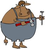 Carpenter Cow. This illustration depicts a cow in coveralls and holding a hammer and nail Royalty Free Stock Photos