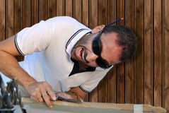 Carpenter crazy Royalty Free Stock Image