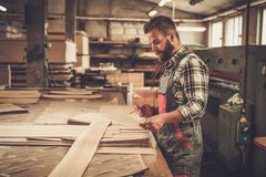Carpenter doing his work in carpentry workshop. Royalty Free Stock Images