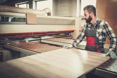Carpenter doing his work in carpentry workshop. Royalty Free Stock Photography
