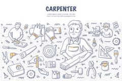 Carpenter Doodle Concept. Carpenter with a timber plank. Doodle vector concept of carpentry, woodworking and handcraft. Illustration for web banners, hero images vector illustration