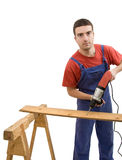Carpenter and drill Stock Photos