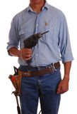 Carpenter with drill Stock Photo