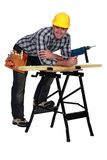 Carpenter with drill Stock Image