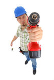 Carpenter with drill. View from above, white background, ısolated on white stock photography