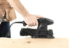 Carpenter Electrical Sanding Machine Royalty Free Stock Images