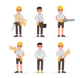 Carpenter, foreman, engineer, joiner and woodworker elements collection with various people actions. Vector illustration Stock Images